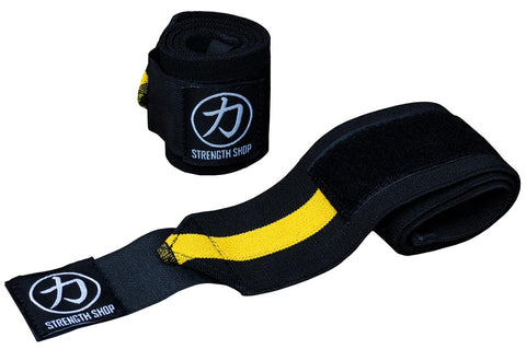 Strength Shop Super Stiff Wrist Wraps - Black/Yellow - IPF Approved - Strength Shop USA