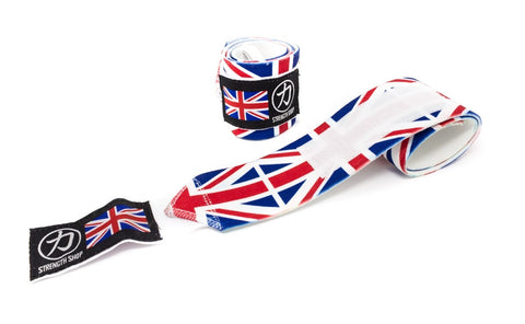 Strength Shop Super Stiff Wrist Wraps - UK Flag - IPF Approved - Strength Shop USA