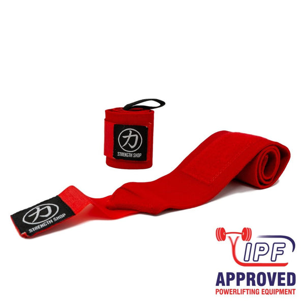Strength Shop Super Stiff Wrist Wraps - Red - IPF Approved - Strength Shop USA