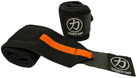 Strength Shop Stiff Wrist Wraps - Black/Orange - IPF Approved - Strength Shop USA