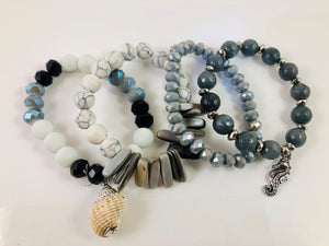 Multi strand stretch bracelet with sea life charms
