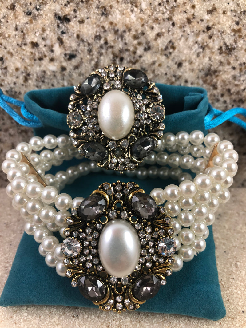 Elegant 5 Strands Pearl Rhinestone Oval Bracelet and Ring