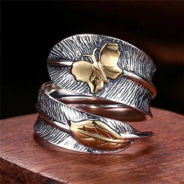 925 Leaf and Butterfly Adjustable Ring