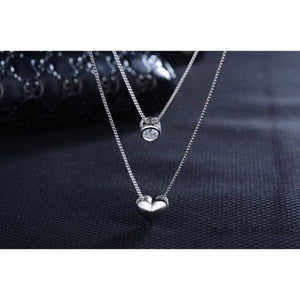 Sterling Silver Double Layered Collarbone Love Heart Pendant Necklace