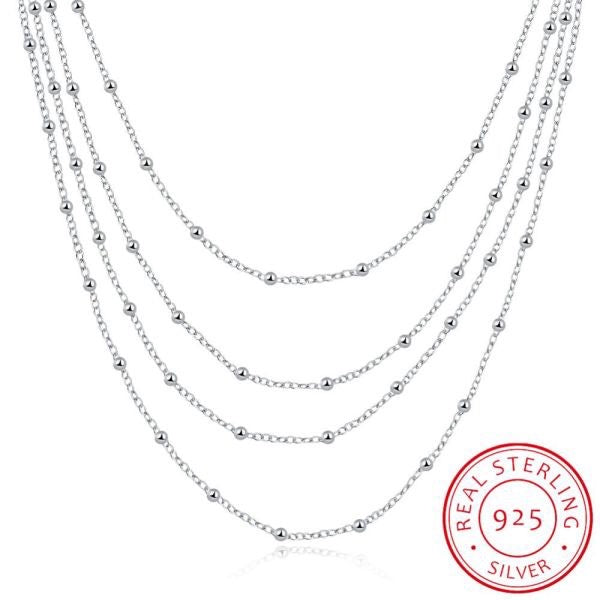 Elegant Multilayer Beads Sterling Silver Necklace