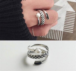 Sterling Silver European Three-Layer Pearl Ring