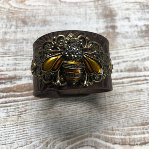 Genuine Leather Bumble Bee Bracelet