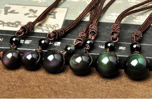 Natural Obsidian Rainbow Eye Good Luck Pendant Necklace For Woman