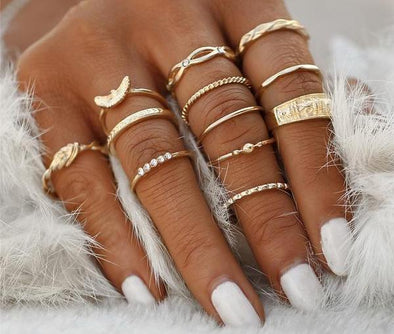 12 PCS Fashion Gold and Silver Color Knuckle Rings