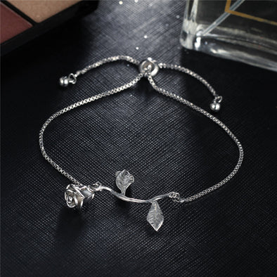Fashion Rose Flower Charm Bracelet For Women