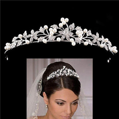 European Crystal Pearl Bridal Crown