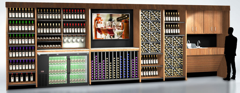 buy liquor store shelving and wine tasting bar