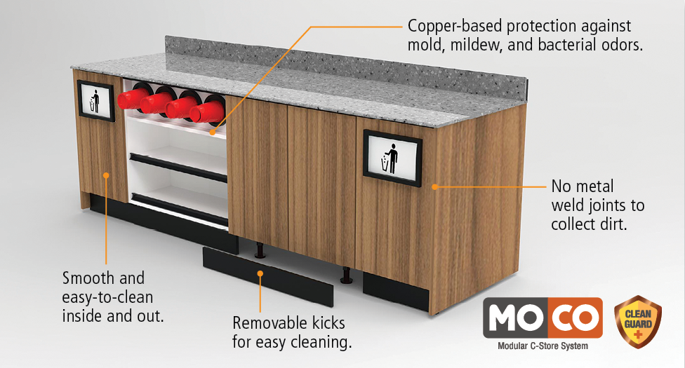 moco cabinetry with clean guard+ antimicrobial protection