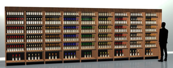 24 feet of shelving for wine and spirits display