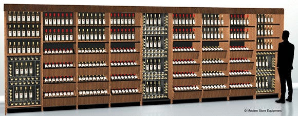 24 feet of shelving and easy-to-shop laydown wine bin