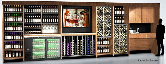 24 feet of shelving, wine tasting bar, refrigeration, sink, and flat screen TV hutch