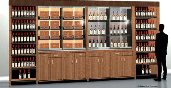 18 feet of wine display, solid door base cabinetry, locking glass door units and humidors