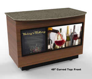 "Curved Top Mobile Tasting Bar: 48"" & 64"""