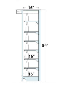 "84""H x 16""D/6 Shelves Wall Shelving: 4 Ft. Centers on Overhead w/ Lights"
