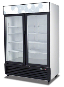 "Migali Double Glass Door REFRIGERATOR C-49RM - 54.4""x31.5""x81"""
