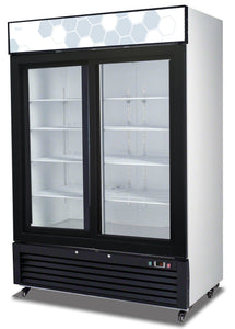 "Migali Double Sliding Glass Door REFRIGERATOR C-49RS - 54.4""x29.75""x81"""