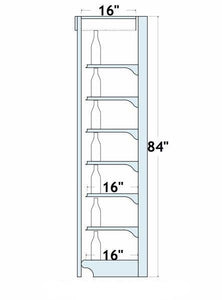 "84""H x 16""D/6 Shelves Wall Shelving: 8 Ft. Centers on Overhead"