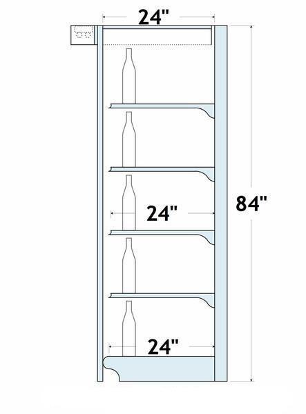"84""H x 24""D/4 Shelves Wall Shelving: 4 Ft. Centers on Overhead w/ Lights"