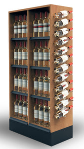 "60"" Low Wine Tower with Unique Side Display - Modern Store Equipment 