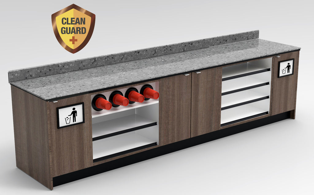 "20% OFF! Modular CLEANGUARD+ Coffee / Beverage Prep Wall Station • Display & Cup Dispensing: 131.5""L x 30""D - Modern Store Equipment 