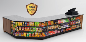"20% OFF! Modular CleanGuard+ Checkout Counter • Angled Corner, Merchandising, LED: 16'-7.75""L x 34""H x 30""D - Modern Store Equipment 
