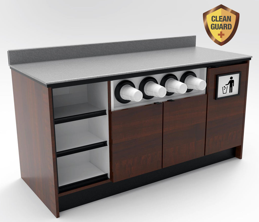 "20% OFF! Modular CLEANGUARD+ Coffee / Beverage Prep Wall Station: 67.5""L x 30""D"