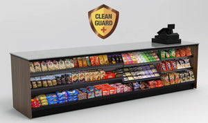 "20% OFF! Modular CleanGuard+ Straight Checkout Counter • Merchandising Front, LED: 131.5""L x 34""H x 30""D - Modern Store Equipment 