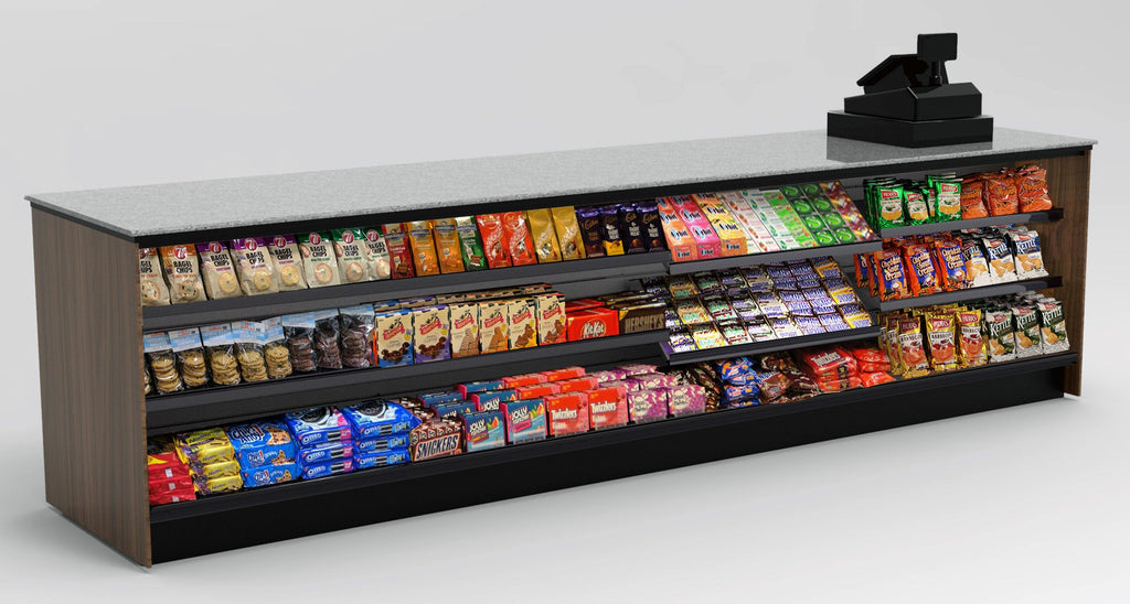 "Modular Straight Checkout Counter • Merchandising Front, LED: 131.5""L x 34""H x 30""D - Modern Store Equipment 