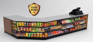 "20% OFF! Modular CleanGuard+ Checkout Counter • Angled Corner, Merchandising, LED: 21'-11""L x 34""H x 30""D - Modern Store Equipment 