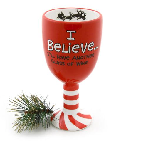 I Believe Christmas Wine Goblet