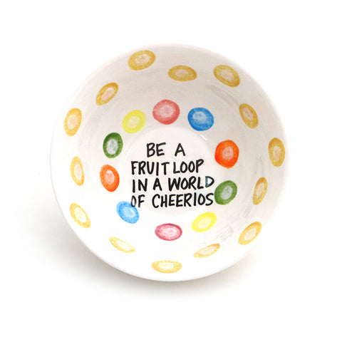 Fruit Loop in a World of Cheerios Cereal Bowl