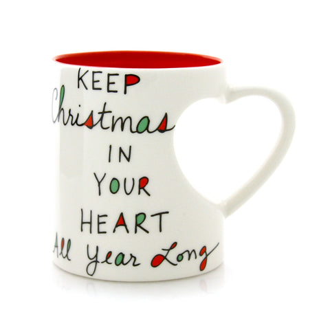 Christmas Heart Handle Mug