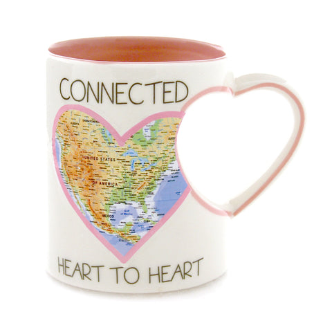 Connected Heart to Heart Map Mug