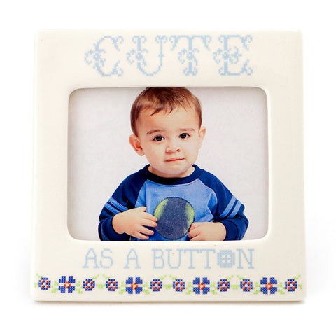 Cute as a Button Blue Frame