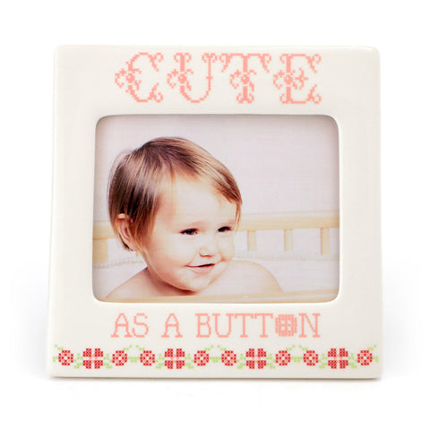 Cute as a Button Pink Frame