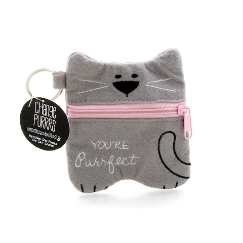 Gray Cat Coin Purse