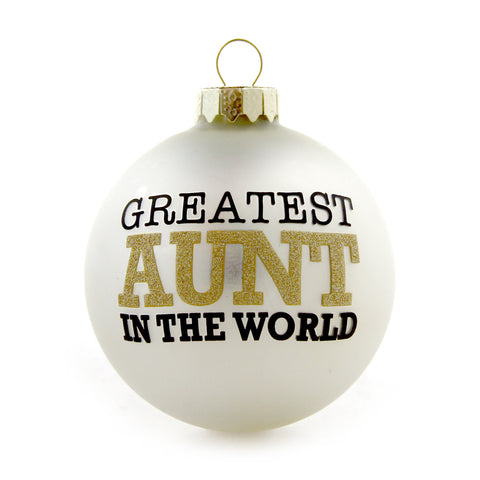 Greatest Aunt Gold and White Ornament
