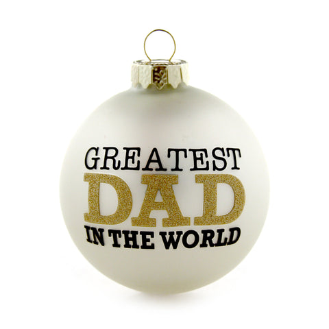 Greatest Dad Gold and White Ornament