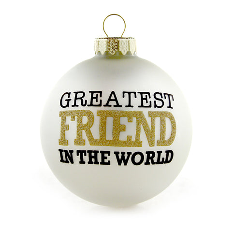 Greatest Friend Gold and White Ornament