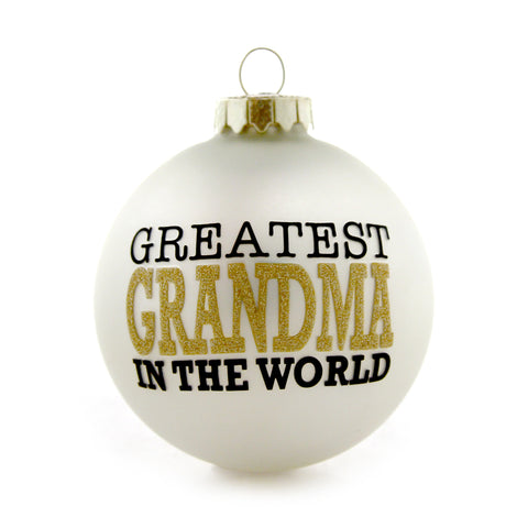 Greatest Grandma Gold and White Ornament