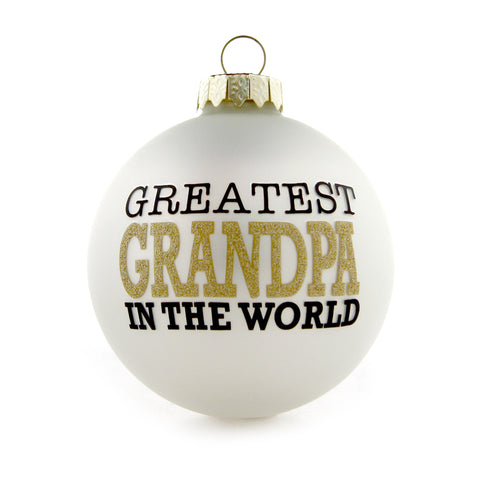 Greatest Grandpa Gold and White Ornament