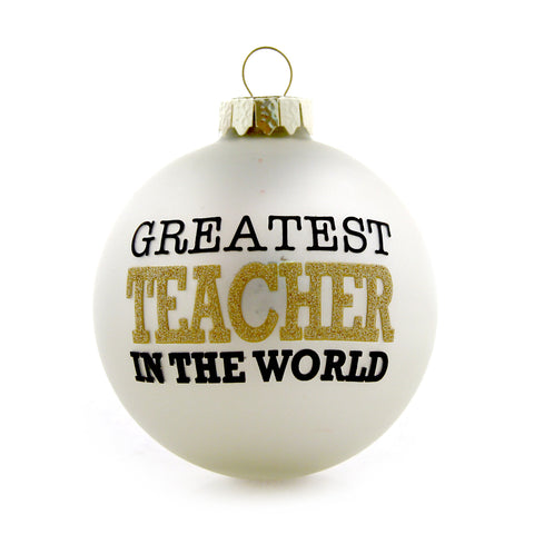 Greatest Teacher Gold and White Ornament