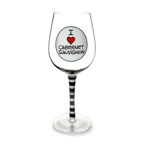 I Heart Cabernet Wine Glass