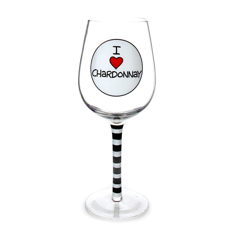 I Heart Chardonnay Wine Glass