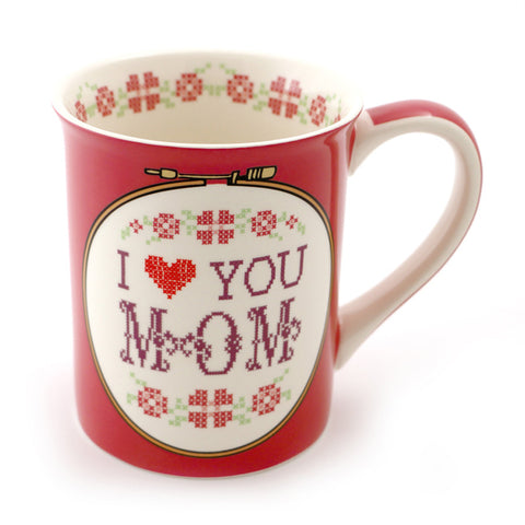 I Heart You Mom Cross Stitch Mug